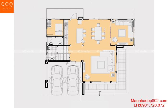 Thiết kế biệt thự 3 tầng - Mặt bằng tầng 1 - BT20