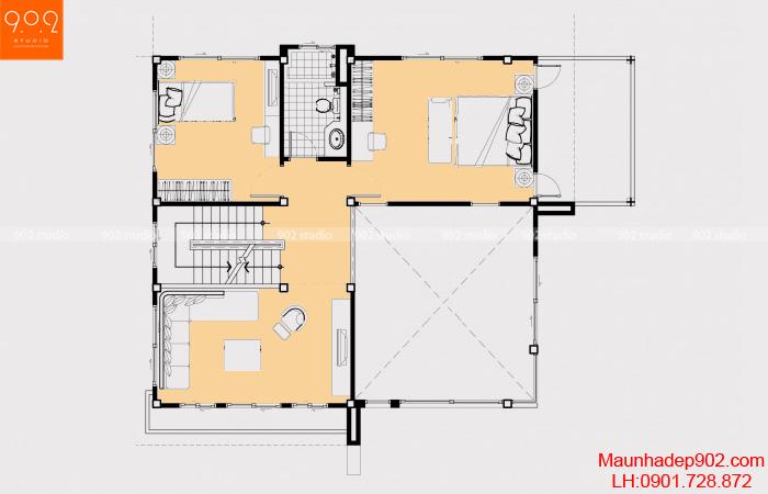 Thiết kế biệt thự 3 tầng - Mặt bằng tầng 2 - BT20