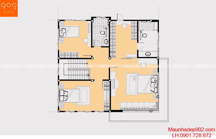 Thiết kế biệt thự 3 tầng - Mặt bằng tầng 3 - BT20