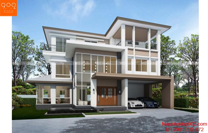 Thiết kế biệt thự 3 tầng - Phối cảnh - BT07