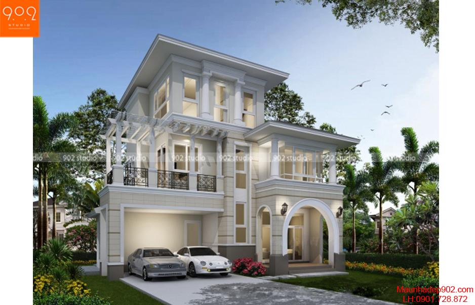 Biệt thự 3 tầng đẹp - Phối cảnh - BT51