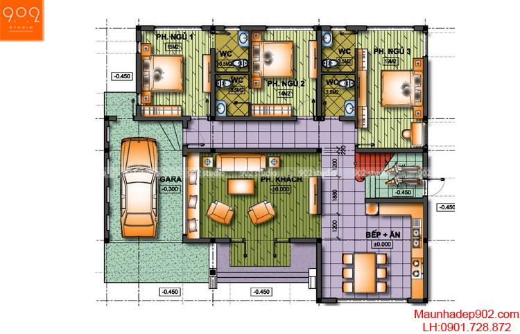 Thiết kế biệt thự vườn - Mặt bằng - BT76