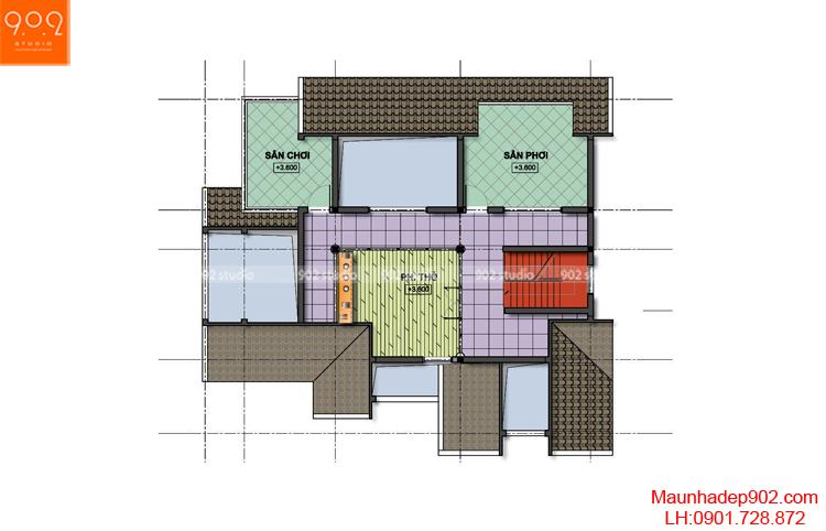 Thiết kế biệt thự vườn- Mặt bằng tầng tum - BT76