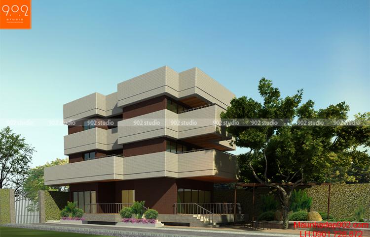 Thiết kế kiến trúc biệt thự 3 tầng -Phối cảnh 1 - BT108