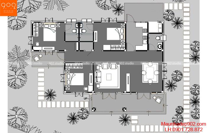 Thiết kế biệt thự sân vườn - Mặt bằng - BT36