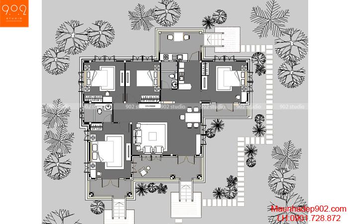 Thiết kế biệt thự nhà vườn đẹp - Mặt bằng - BT37
