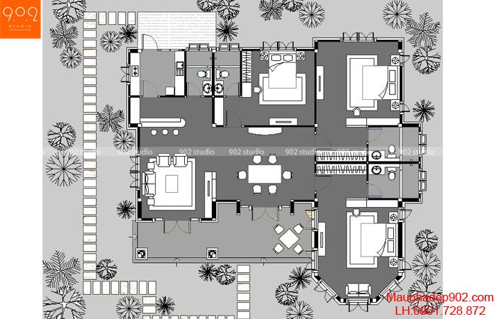 Thiết kế biệt thự sân vườn - Mặt bằng - BT38