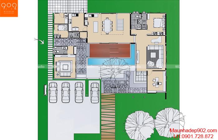 Mẫu nhà 2 tầng đẹp - Mặt bằng tầng 1 - BT06