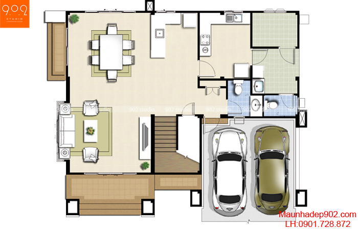 Mẫu nhà 2 tầng - Mặt bằng tầng 2 - BT10