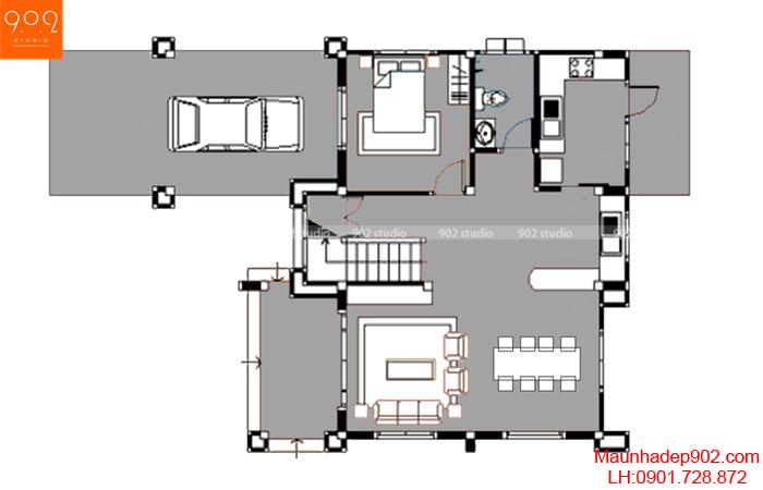 Mẫu nhà vườn - Mặt bằng tầng 1 - BT21
