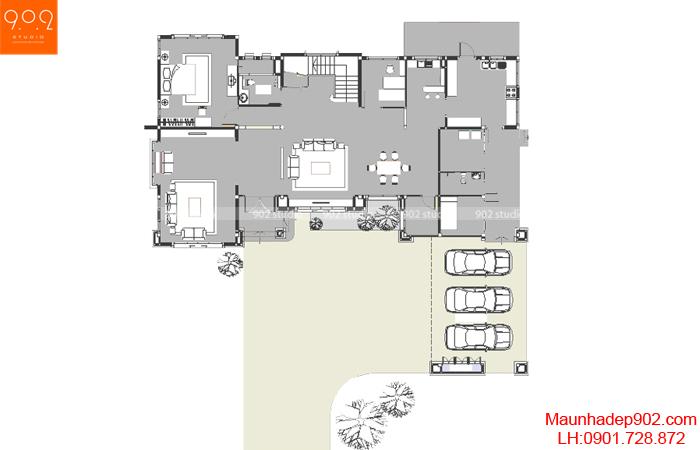 Mẫu biệt thự sân vườn - Mặt bằng tầng 1 - BT29