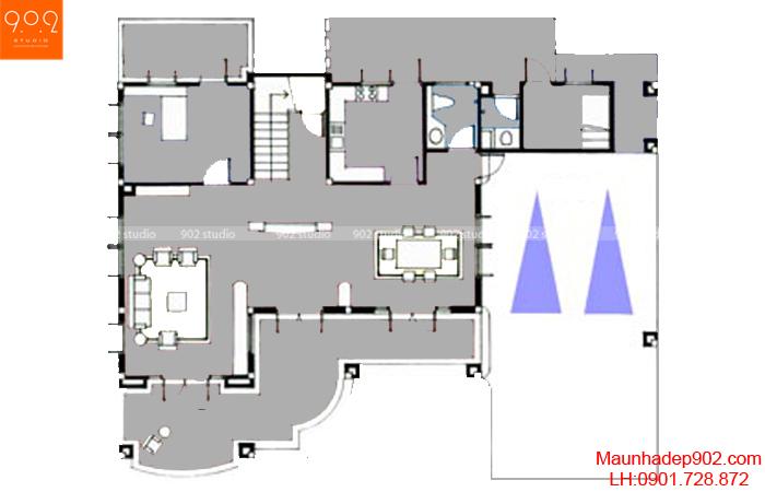 Mẫu biệt thự nhà vườn - Mặt bằng tầng 1 - BT30