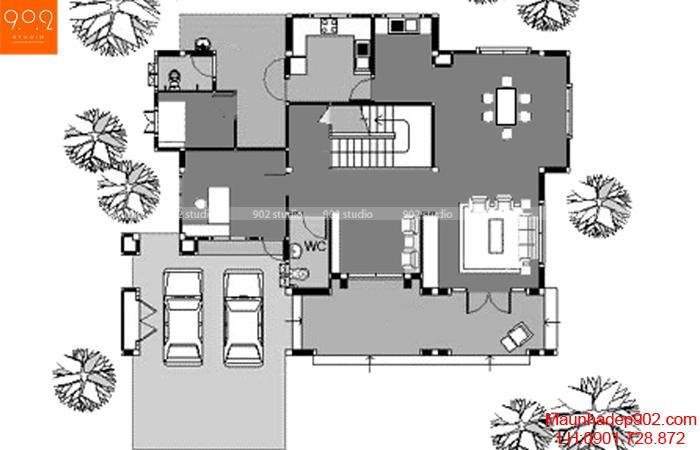 Mẫu thiết kế biệt thự hiện đại - Mặt bằng tầng 1 - BT132