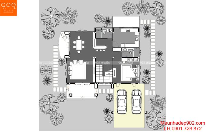 Thiết kế biệt thự sân vườn 2 tầng - Mặt bằng tầng 1 - BT33