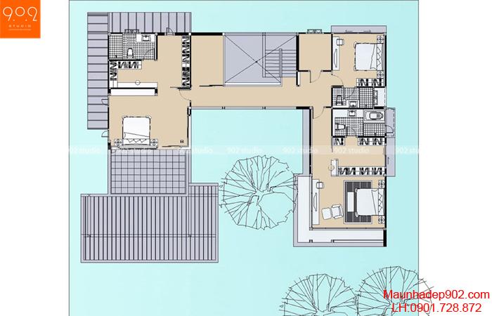 Mẫu nhà 2 tầng đẹp - Mặt bằng tầng 2 - BT06