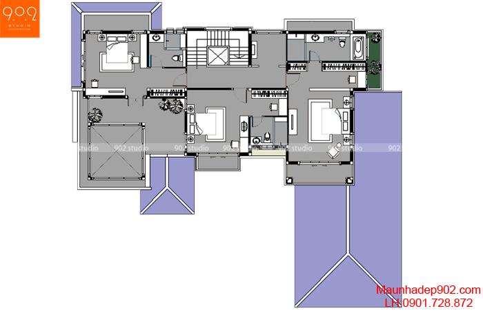 Mẫu biệt thự sân vườn - Mặt bằng tầng 2 - BT29