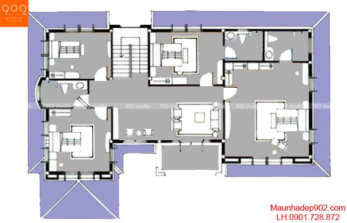 Mẫu biệt thự nhà vườn - Mặt bằng tầng 2 - BT30
