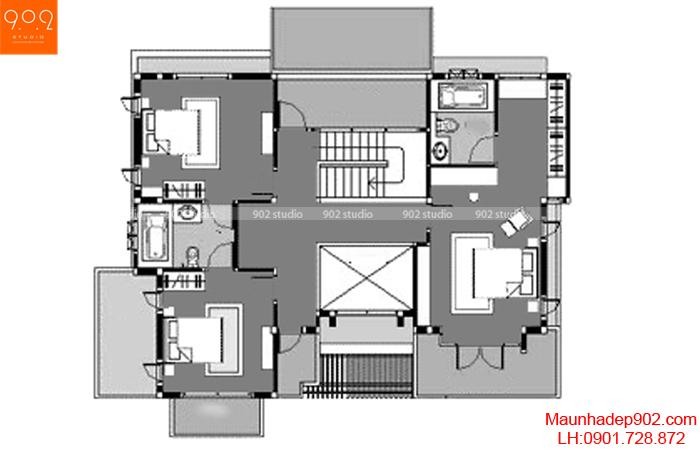 Mẫu thiết kế biệt thự hiện đại - Mặt bằng tầng 2 - BT132