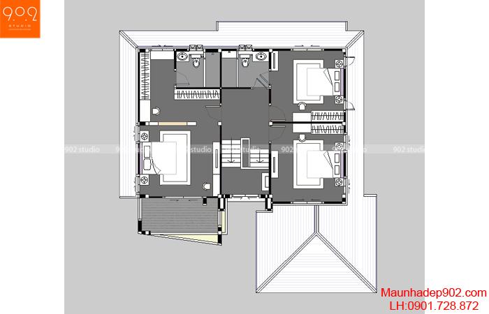 Thiết kế biệt thự sân vườn 2 tầng - Mặt bằng tầng 2 - BT33
