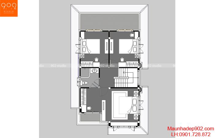 Thiết kế biệt thự - Mặt bằng tầng 2 - BT34