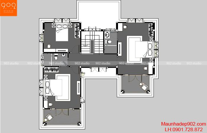 Thiết kế nhà biệt thự đơn giản - Mặt bằng tầng 2 - BT35