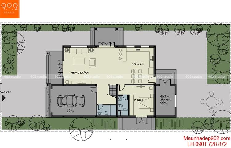 Mẫu biệt thự phố - Mặt bằng tầng 1 - BT90