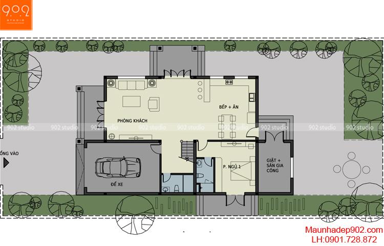 Thiết kế biệt thự - Mặt bằng tầng 1 - BT90