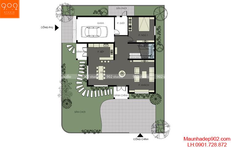 Thiết kế biệt thự - Mặt bằng tầng 1 - BT115
