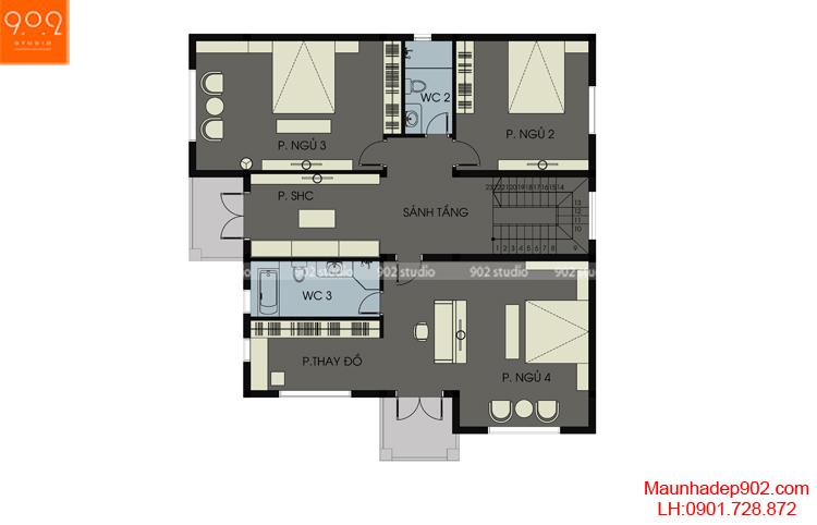 Thiết kế biệt thự 2 tầng - Mặt bằng tầng 2 - BT115