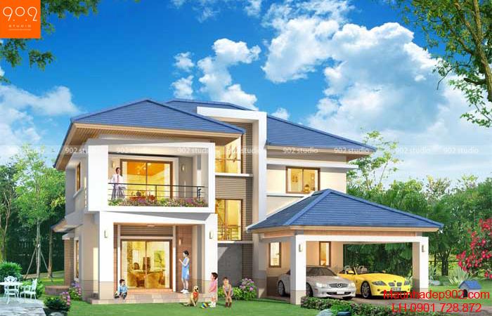 Thiết kế biệt thự sân vườn 2 tầng - BT33