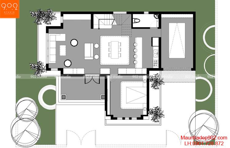 Thiết kế biệt thự - Mặt bằng tầng 1 - BT95