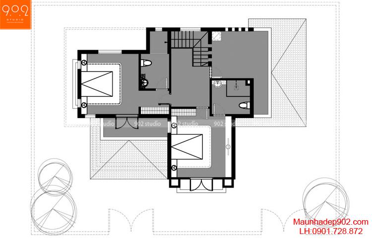 Thiết kế biệt thự - Mặt bằng tầng 2 - BT95