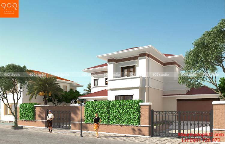 Thiết kế kiến trúc biệt thự 2 tầng - Phối cảnh 1- BT95