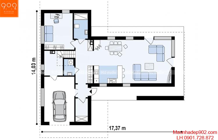 Thiết kế biệt thự - Mặt bằng tầng 1 - BT96
