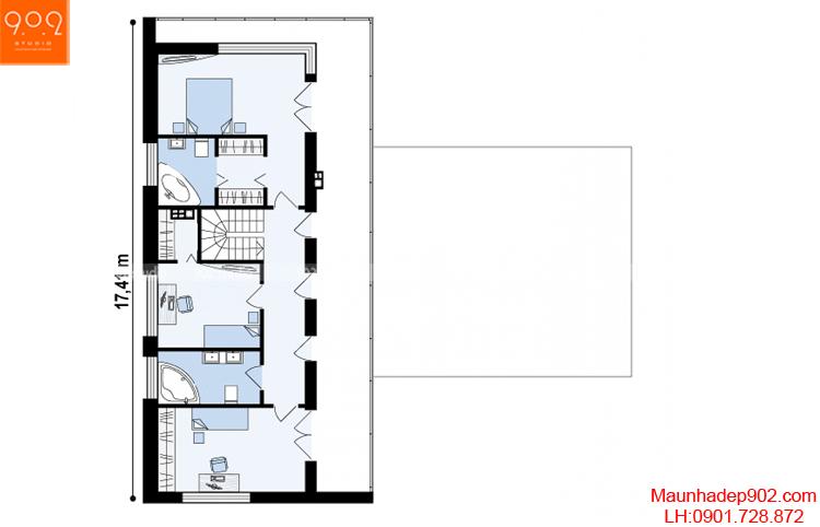 Thiết kế biệt thự - Mặt bằng tầng 2 - BT96