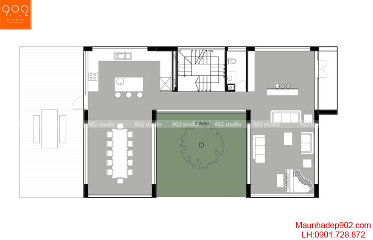 Thiết kế biệt thự - Mặt bằng tầng 1 - BT97