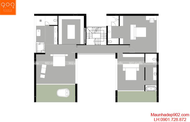 Thiết kế biệt thự - Mặt bằng tầng 2 - BT97