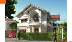 Thiết kế kiến trúc biệt thự 2 tầng -Phối cảnh 1 - BT98