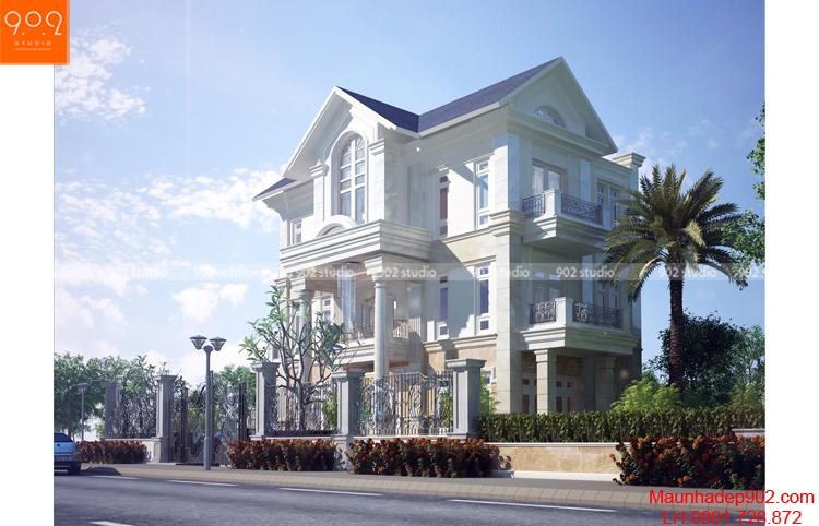 Thiết kế kiến trúc biệt thự 3 tầng -Phối cảnh 2- BT110
