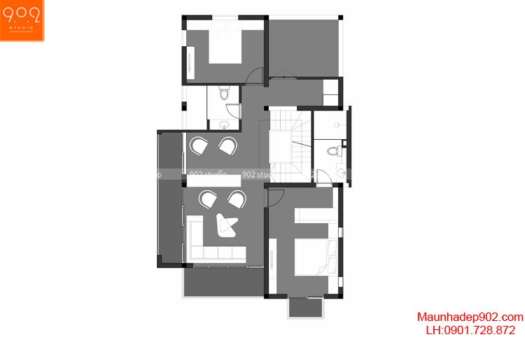 Thiết kế biệt thự - Mặt bằng tầng 2 - BT107