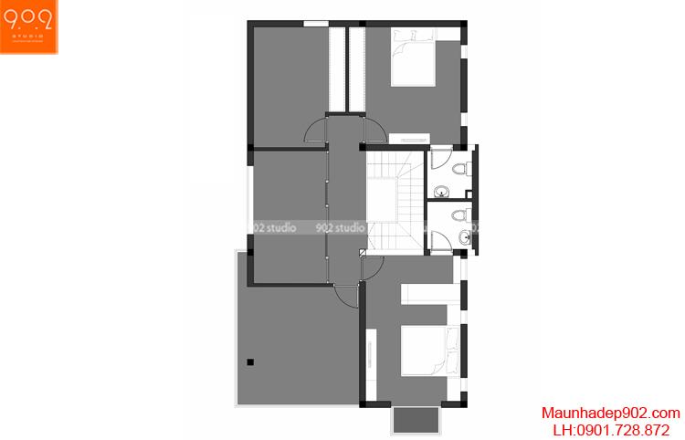 Thiết kế biệt thự - Mặt bằng tầng 3 - BT107