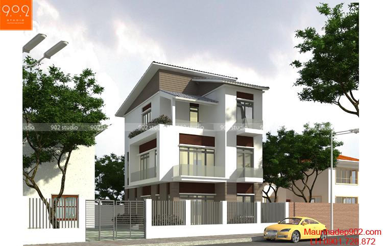 Thiết kế kiến trúc biệt thự 3 tầng -Phối cảnh 1 - BT107