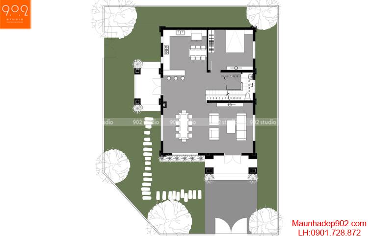 Thiết kế biệt thự - Mặt bằng tầng 1 - BT111