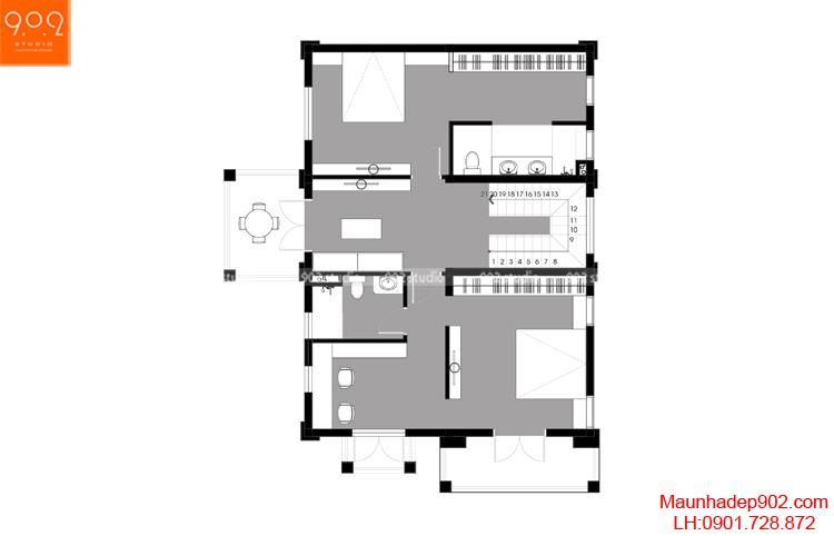 Thiết kế biệt thự - Mặt bằng tầng 2 - BT111