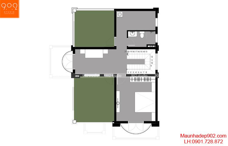 Thiết kế biệt thự - Mặt bằng tầng 3 - BT111