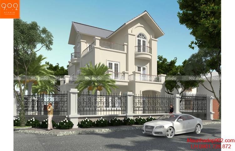Thiết kế kiến trúc biệt thự 3 tầng -Phối cảnh 1 - BT111