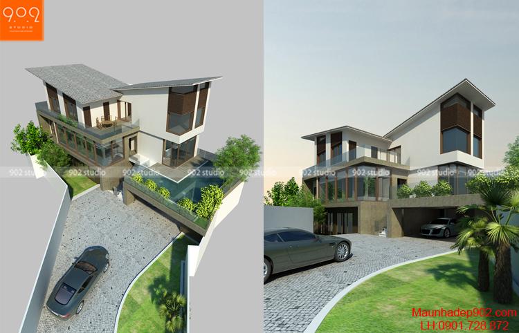 Thiết kế biệt thự 4 tầng - Phối cảnh 1 - BT112
