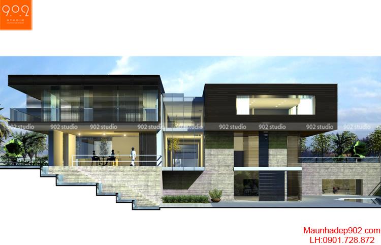 Thiết kế kiến trúc biệt thự 2 tầng -Phối cảnh - BT101