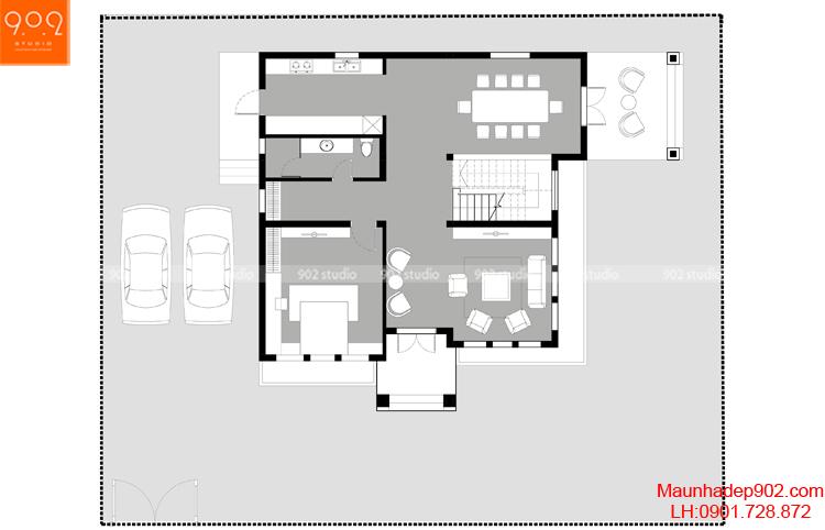 Thiết kế biệt thự - Mặt bằng tầng 1 - BT106