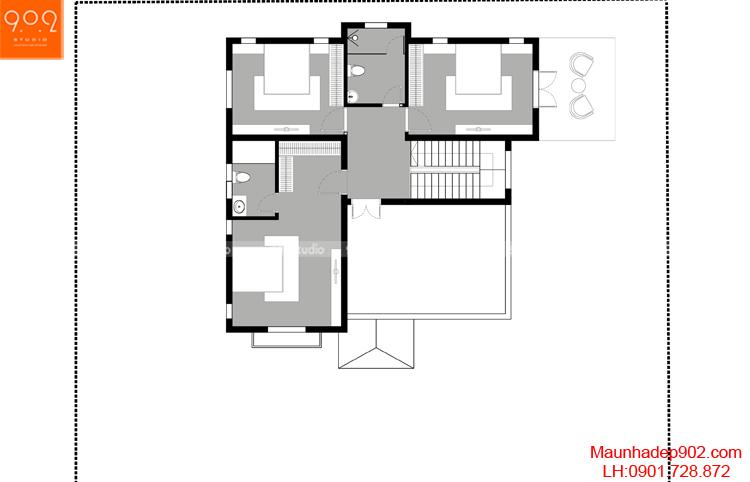 Thiết kế biệt thự - Mặt bằng tầng 2 - BT106